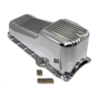 Oil Pans - Street Oil Pans - Assault Racing Products - 80-85 SBC Chevy Retro Finned Polished Aluminum Oil Pan - 305 350 5.7 Small Block