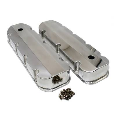 Valve Covers & Accessories - Street Valve Covers  - Assault Racing Products - BBC Chevy 396 402 427 454 Polished Fabricated Aluminum Sheet Metal Valve Covers