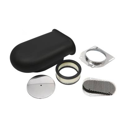 Air Filters & Cold Air Intakes - Air Cleaner Assemblies & Accessories - Assault Racing Products - Black Aluminum Hilborn Style Smooth Hood Air Scoop Kit 4 Barrel Carburetor