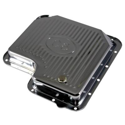 Transmission & Drivetrain - Transmission Oil Pan & Components - Assault Racing Products - Ford C6 Automatic Transmission Pan Chrome Plated Steel - Stock Capacity w/ Logo