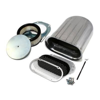 Polished Aluminum Hilborn Style Carburetor Wide Fin Air Cleaner Hood Scoop Kit