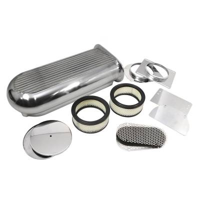 Air Filters & Cold Air Intakes - Air Cleaner Assemblies & Accessories - Assault Racing Products - Polished Aluminum Hilborn Style Finned Air Scoop Single/Dual 4 Barrel Carburetor