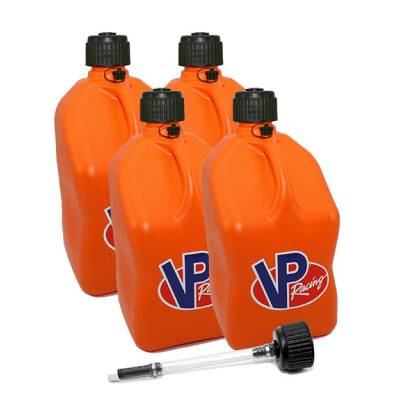 Tools, Shop & Pit Equipment - Fuel Jugs - VP Racing Fuels - VP Racing 4-Pack Square Fuel Jugs with extra Cap and Filler Hose