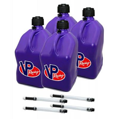 Tools, Shop & Pit Equipment - Fuel Jugs - VP Racing Fuels - VP Racing Square Fuel Jug Gas Can 4 Pack + 4 Fill Hoses