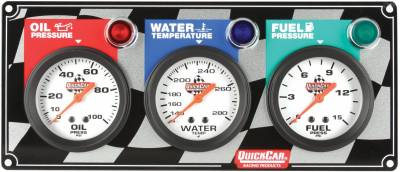 Quick Car - QuickCar 61-6012 Analog 3 Gauge Panel w/ Oil Fuel Pressure Water Temp w/ Lights