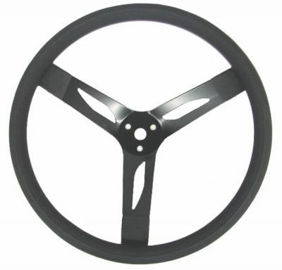 "Victory Racecars - Quick Car - QuickCar 68-003 Dished 15"" Steel Steering Wheel - Black on Black"