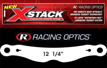 "Stocking Stuffers - Tearoffs - Racing Optics Inc - Racing Optics XStack 10205C 12-3/8"" Button Center-Bel Tear Offs -1 Sleeve of 30"