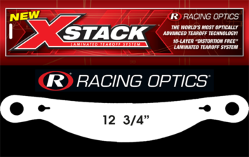 "Stocking Stuffers - Tearoffs - Racing Optics Inc - Racing Optics XStack 10209C 12-3/4"" Button Ctr-Simpson Tear Offs-1 Sleeve of 30"