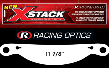 "Stocking Stuffers - Tearoffs - Racing Optics Inc - Racing Optics XStack 10230C 11 7/8"" Button Ctr Tear Offs for Impact 1 Sleeve 30"