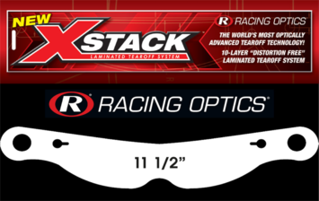 "Stocking Stuffers - Tearoffs - Racing Optics Inc - Racing Optics XStack 10231C 11 1/2"" Button Ctr Tear Offs for Impact Champ, Nitro"