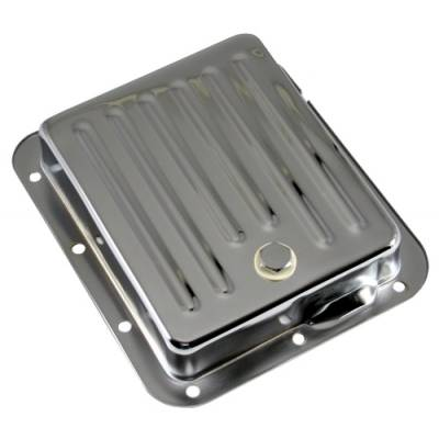 Transmissions, Rearends, & Gears  - Transmission Oil Pan & Components - Assault Racing Products - Ford C4 Chrome Steel Automatic Transmission Pan Case Fill - Stock Capacity
