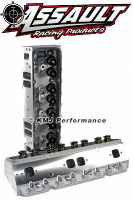 "Cylinder Heads - Small Block Chevy Cylinder Heads - Assault Racing Products - Complete PAIR of SBC Chevy Aluminum Cylinder Heads 205cc 64 Angle Plug .550 Max Lift Springs 7/16"" Studs and Flat Guide Plates"