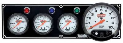 "Gauges & Accessories - Gauge Panels - Quick Car - Black 3-1 Gauge Panel OP/WT/FP/5""Tach QUI 61-6742"