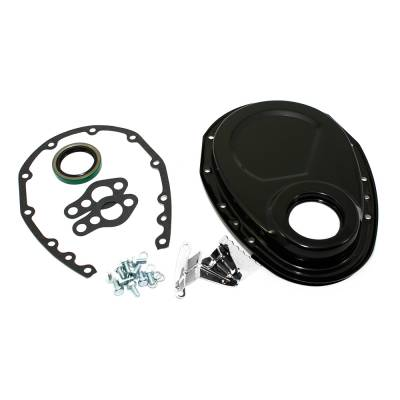 SBC Chevy 350 Black Steel Timing Chain Cover Kit Small Block 283 305 327 400