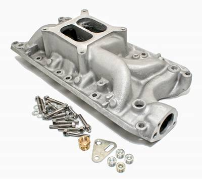 Intake Manifolds - Carbureted Intake Manifolds - Assault Racing Products - SBF Small Block Ford 302 347 5.0L Dual Plane Performer Aluminum Intake Manifold - Black Finish
