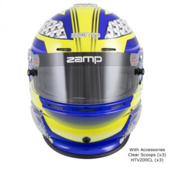 Zamp RZ-62 Helmet Blue / Yellow Graphic Snell SA2020